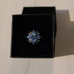 Silver blue crystal ring